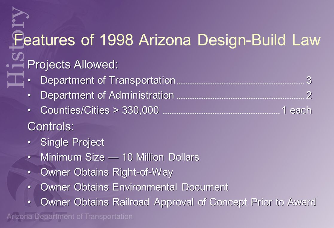 Features of 1998 Arizona Design-Build Law
