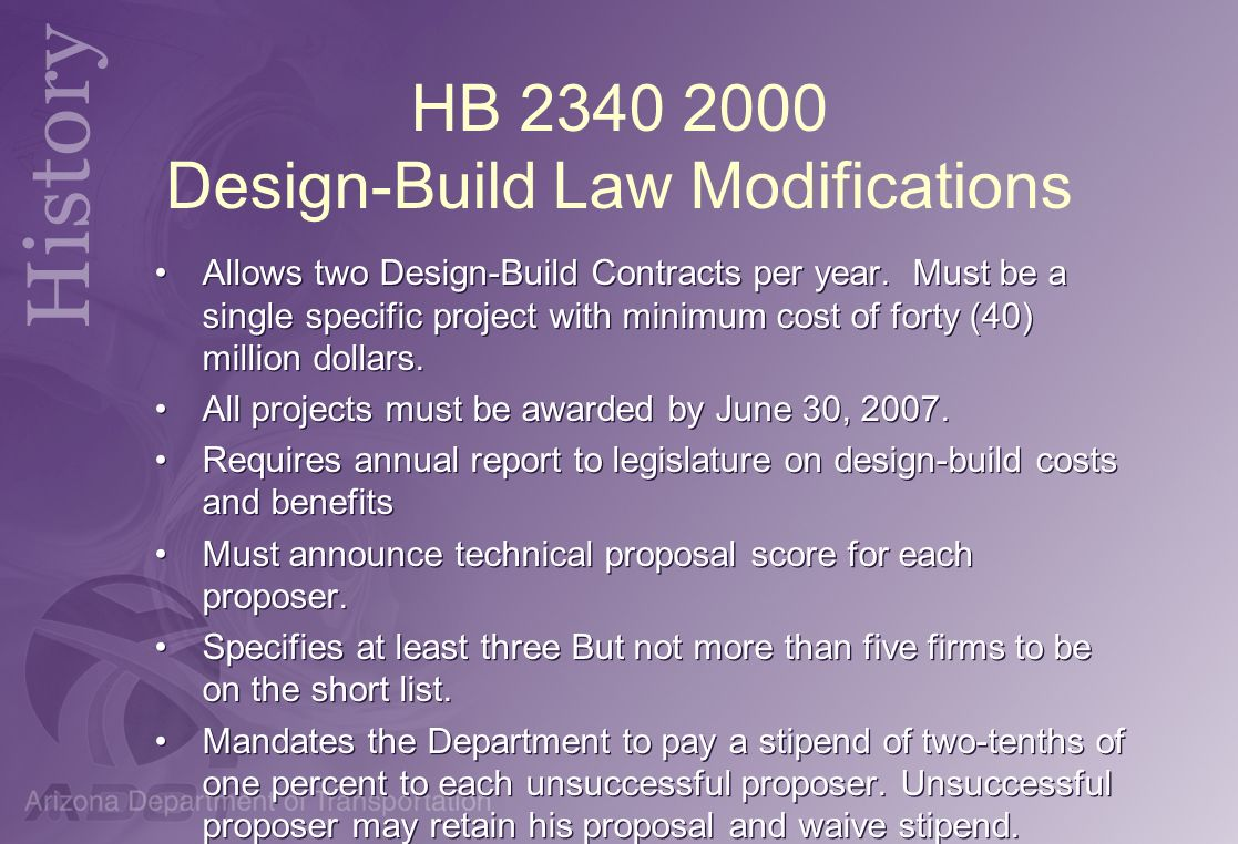 HB 2340 2000 Design-Build Law Modifications
