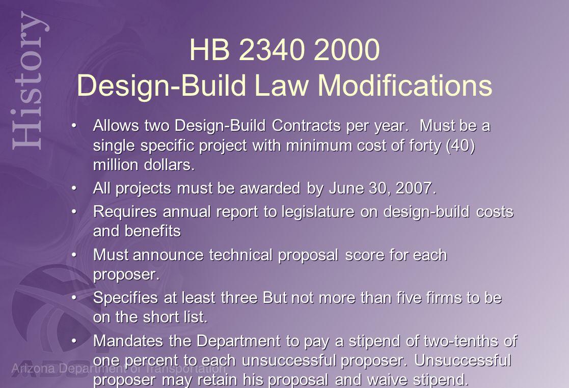 HB 2340 2000 Design-Build Law Modifications