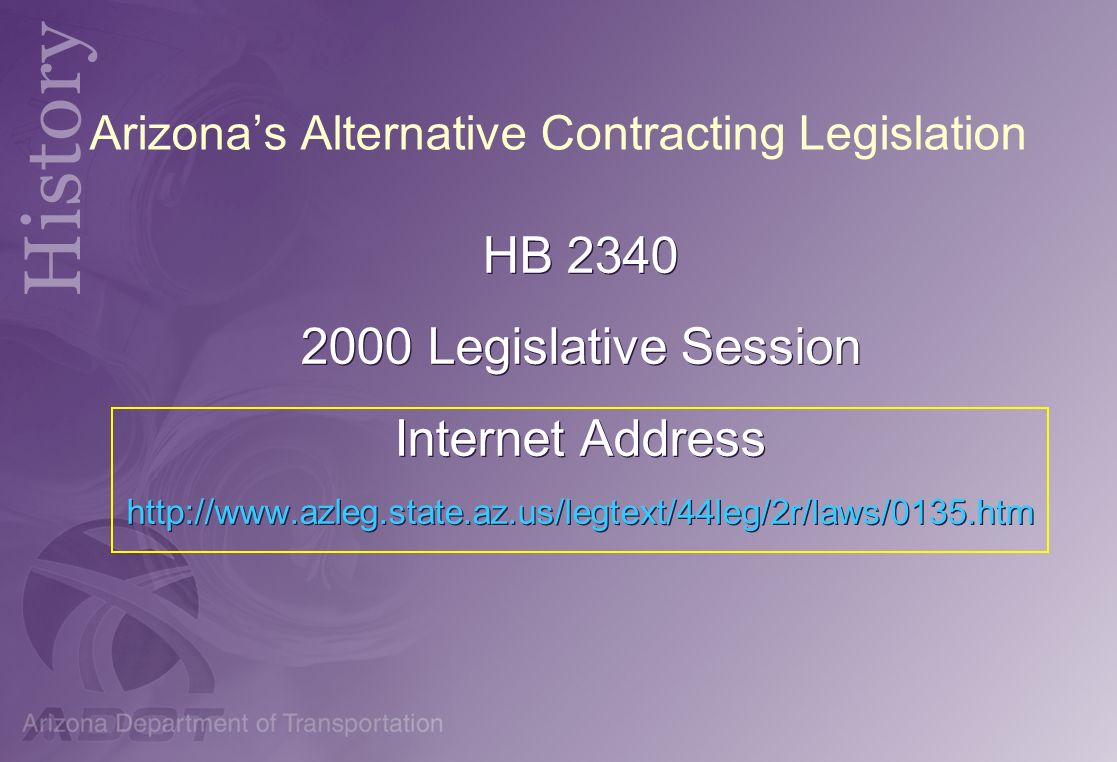 Arizona's Alternative Contracting Legislation