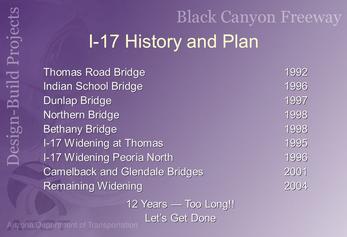 I-17 History and Plan Thomas Road Bridge 1992