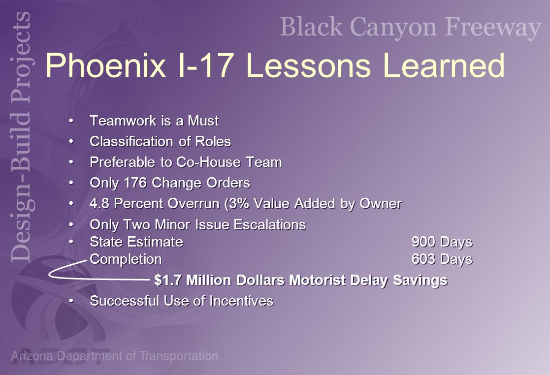 Phoenix I-17 Lessons Learned
