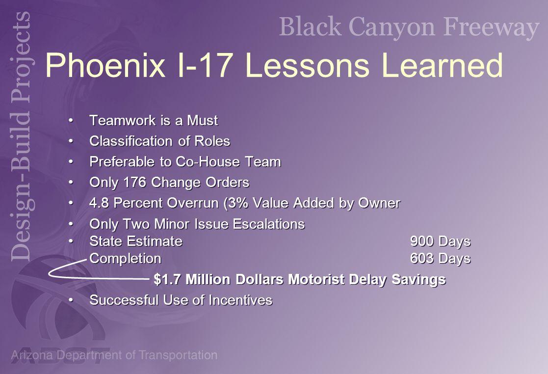 Phoenix I-17 Lessons Learned