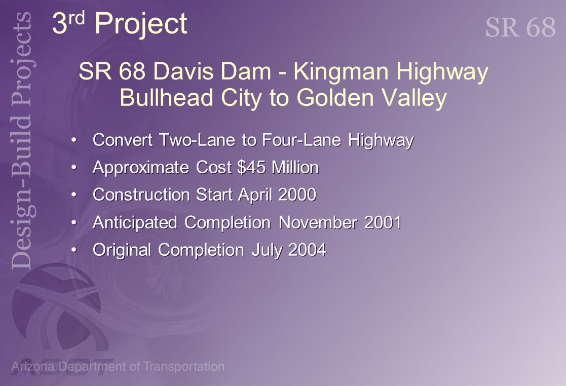 SR 68 Davis Dam - Kingman Highway Bullhead City to Golden Valley