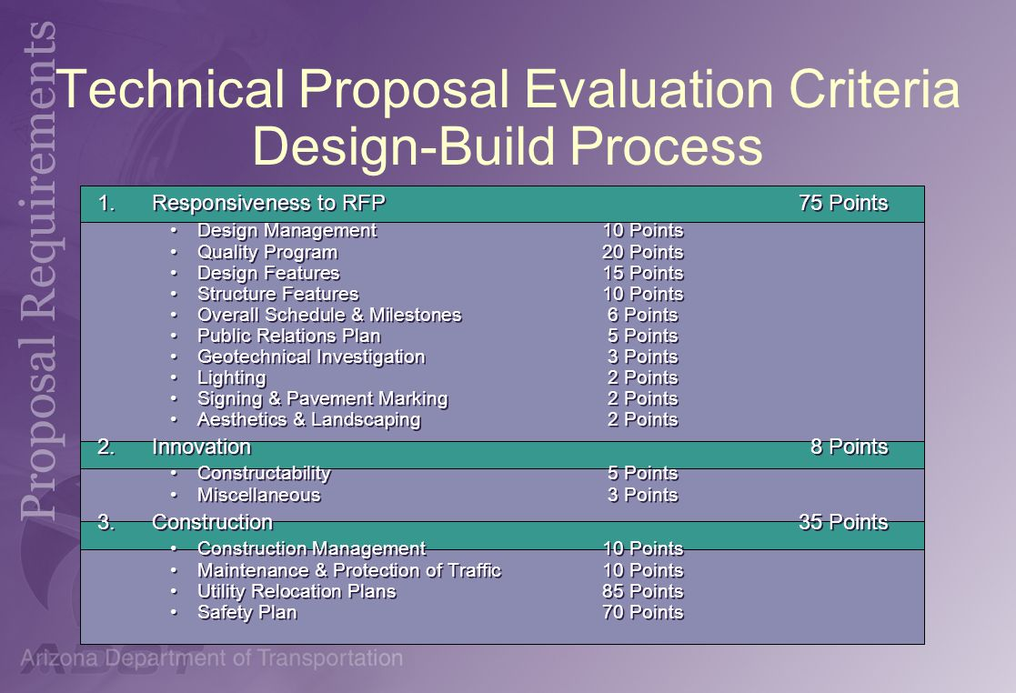 Technical Proposal Evaluation Criteria Design-Build Process