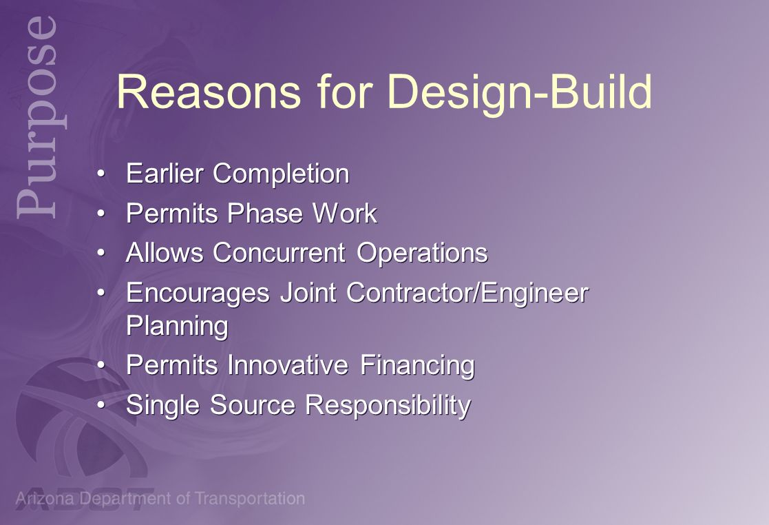 Reasons for Design-Build