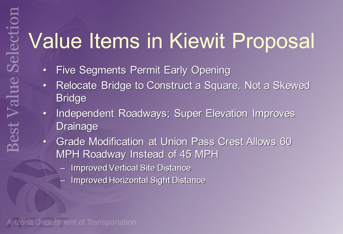 Value Items in Kiewit Proposal