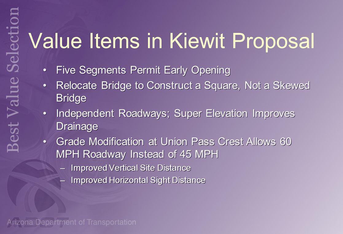 Value Items in Kiewit Proposal