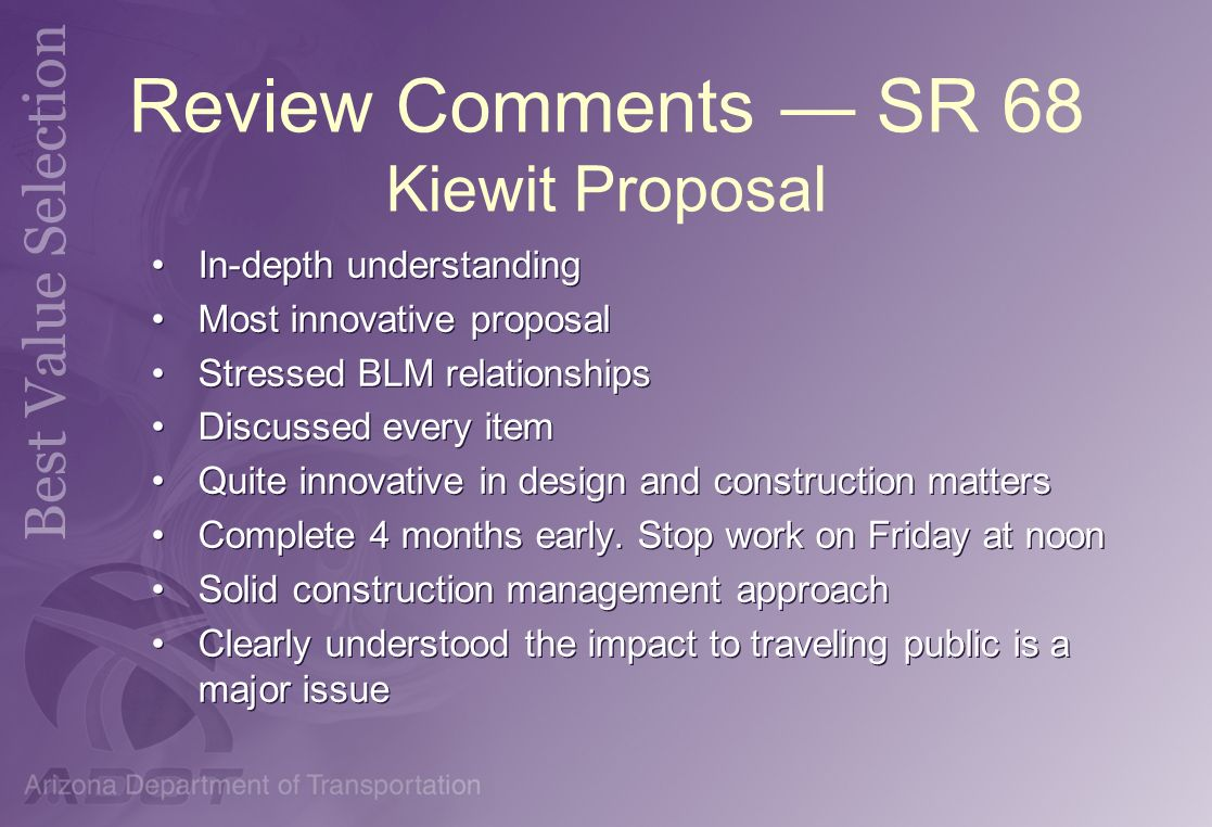 Review Comments — SR 68 Kiewit Proposal