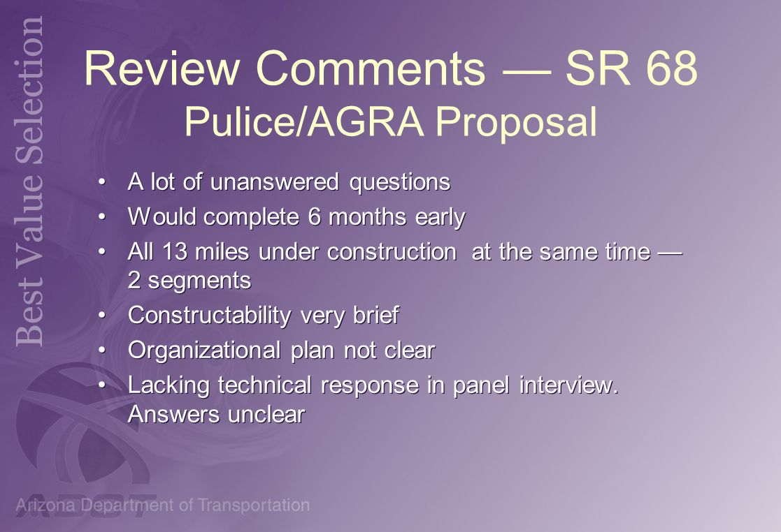 Review Comments — SR 68 Pulice/AGRA Proposal