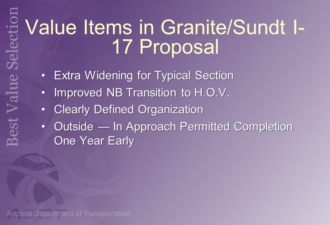 Value Items in Granite/Sundt I-17 Proposal