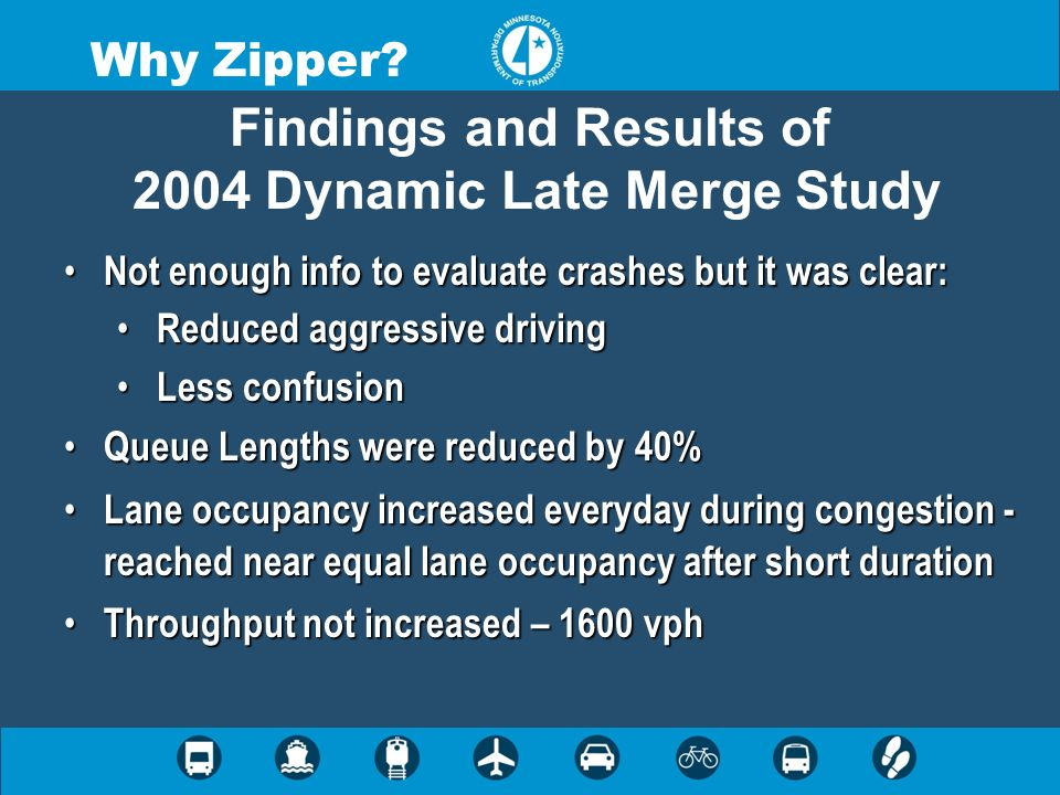 Findings and Results of 2004 Dynamic Late Merge Study