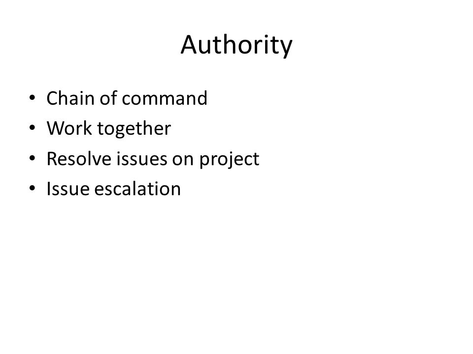 Authority Chain of command Work together Resolve issues on project