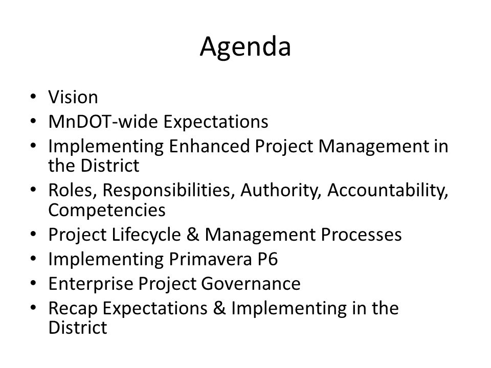 Agenda Vision MnDOT-wide Expectations