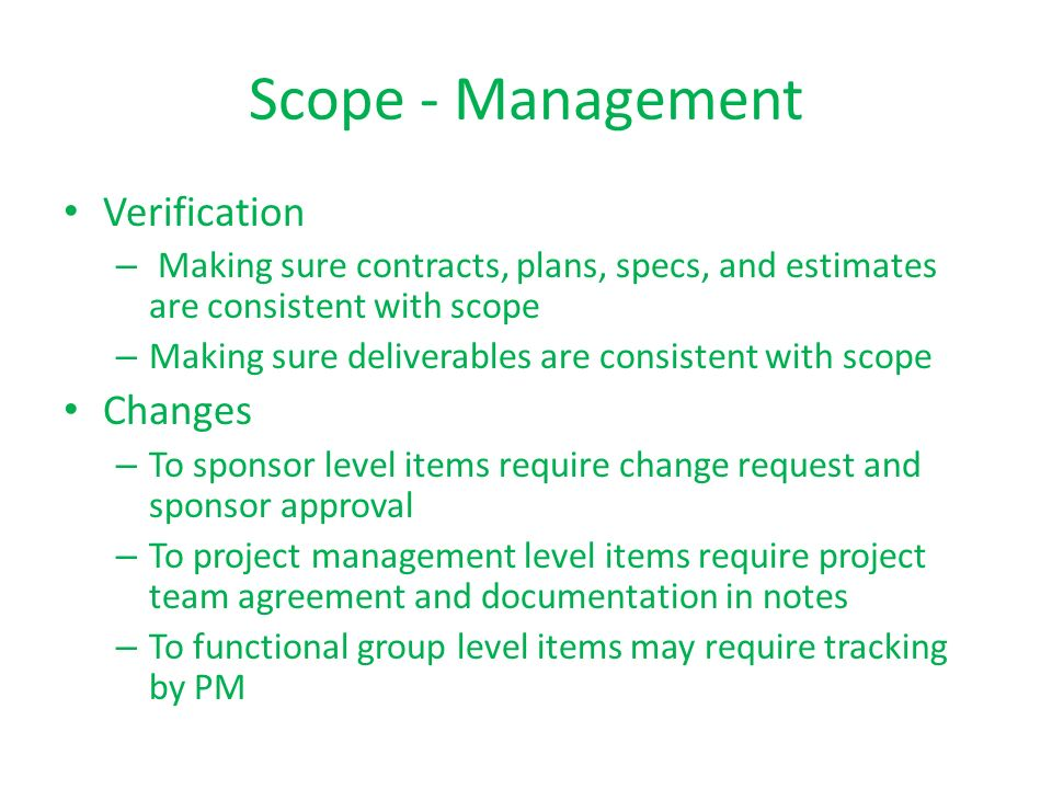 Scope - Management Verification Changes