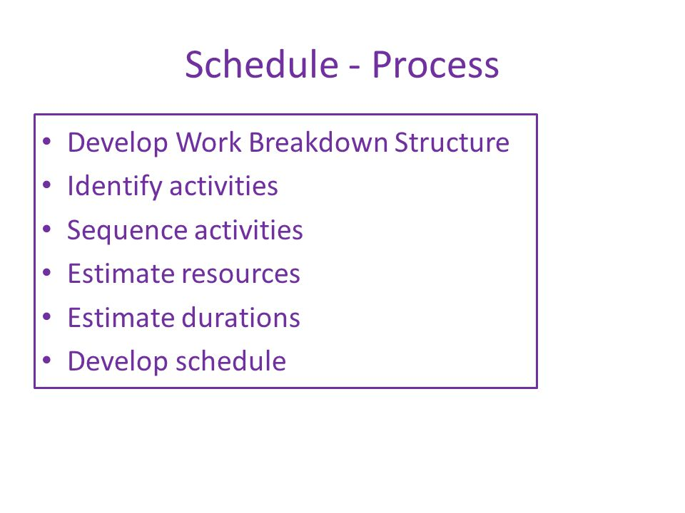 Schedule - Process Develop Work Breakdown Structure