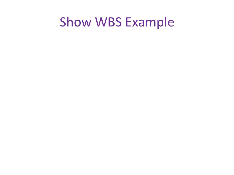 Show WBS Example