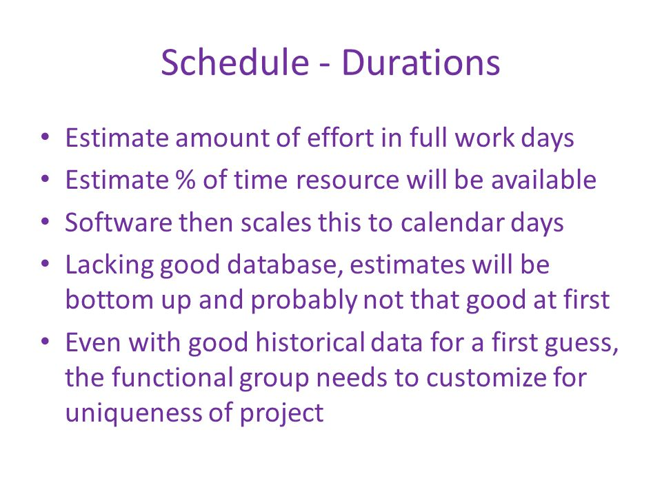 Schedule - Durations Estimate amount of effort in full work days