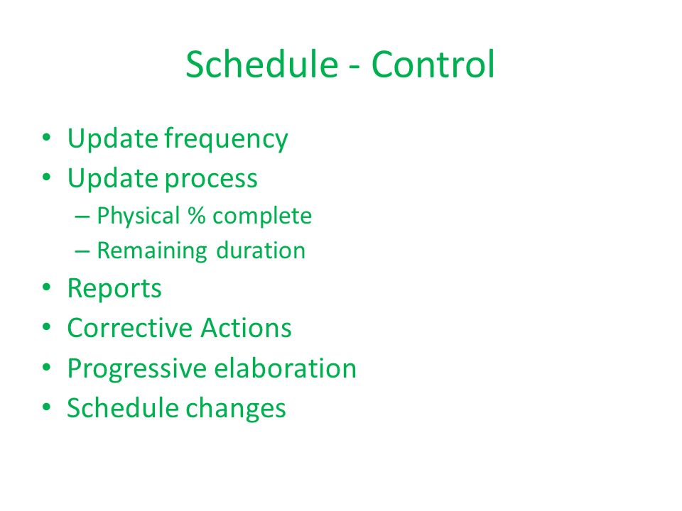 Schedule - Control Update frequency Update process Reports