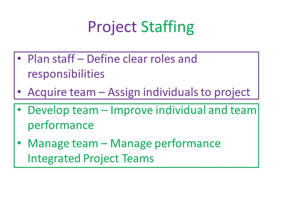 Project Staffing Plan staff – Define clear roles and responsibilities