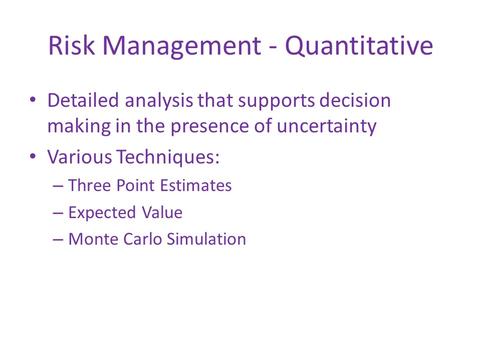 Risk Management - Quantitative