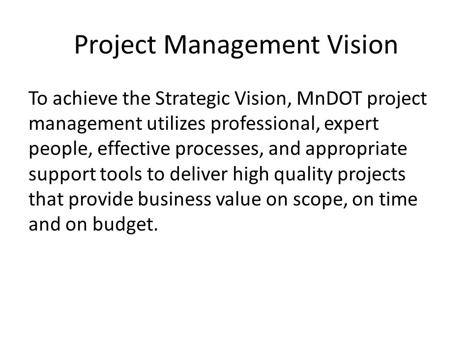 Project Management Vision