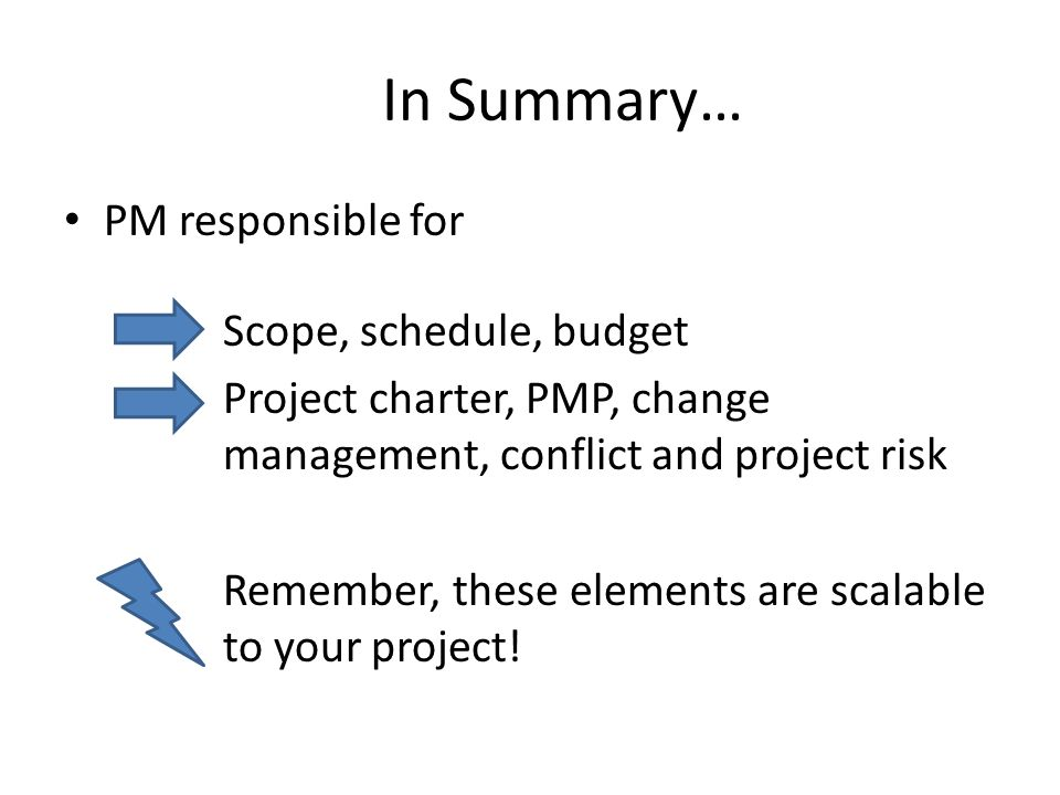 In Summary… PM responsible for Scope, schedule, budget