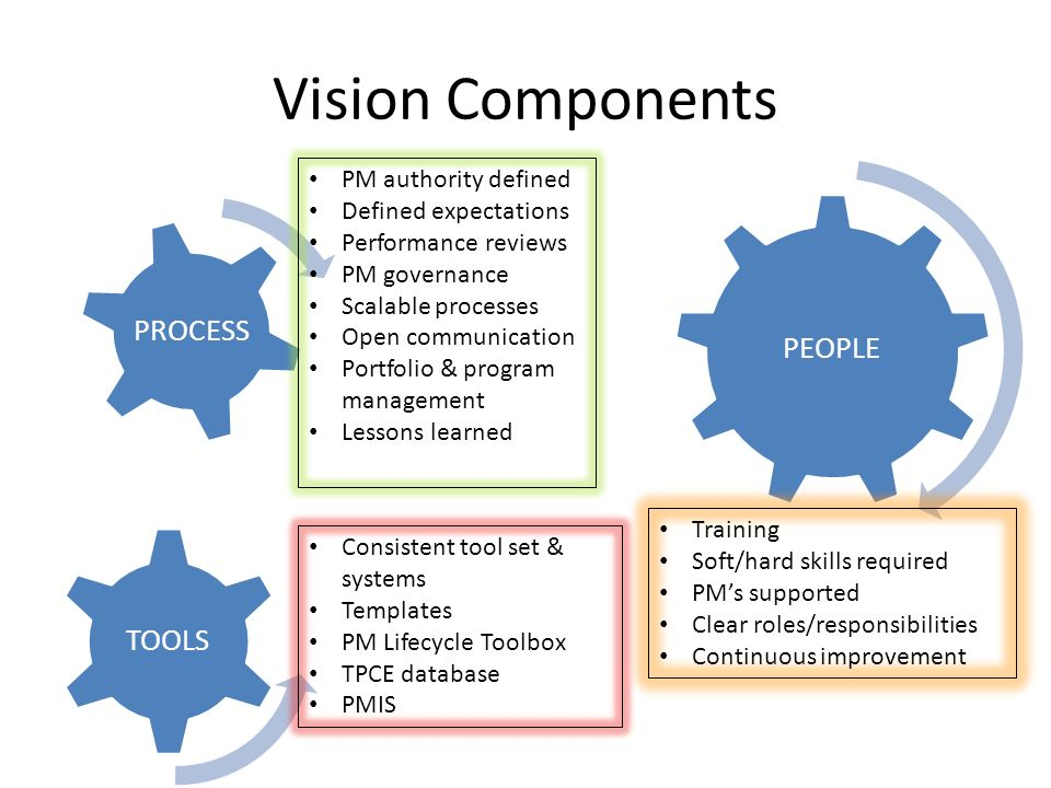 Vision Components PEOPLE PROCESS TOOLS PM authority defined