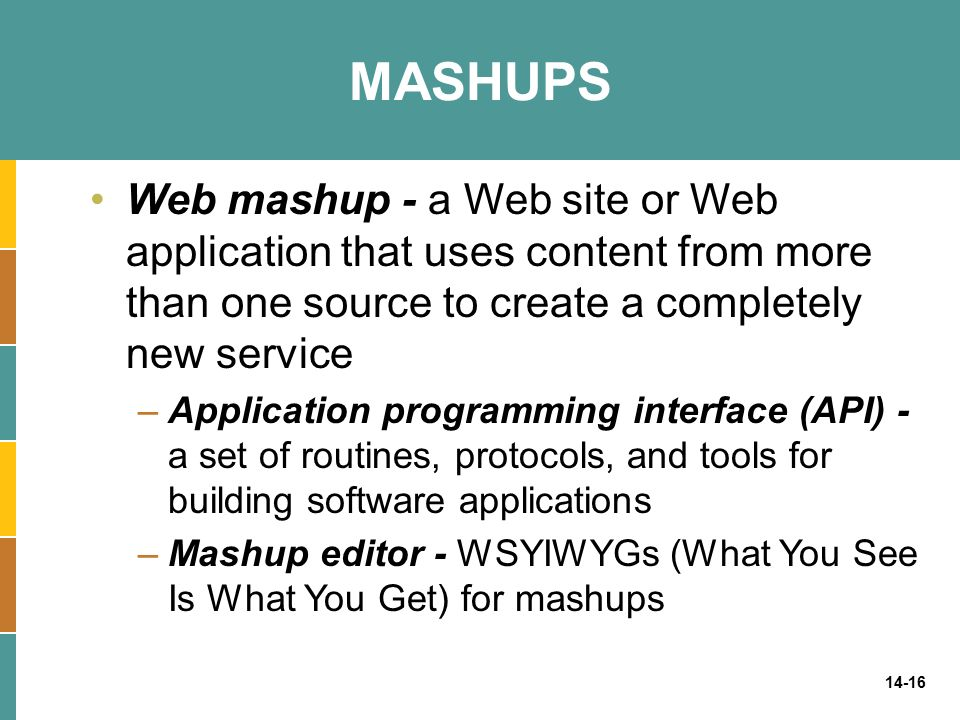 MASHUPS Web mashup - a Web site or Web application that uses content from more than one source to create a completely new service.