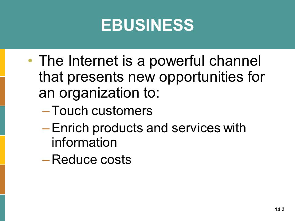 EBUSINESS The Internet is a powerful channel that presents new opportunities for an organization to: