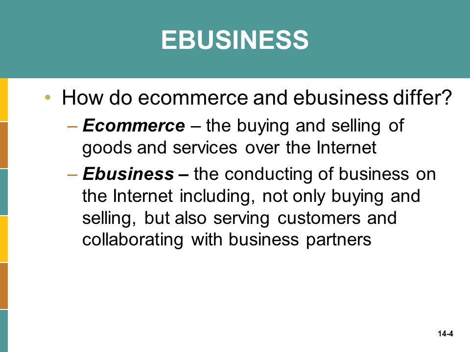 EBUSINESS How do ecommerce and ebusiness differ