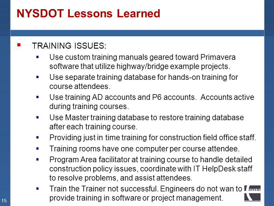 NYSDOT Lessons Learned