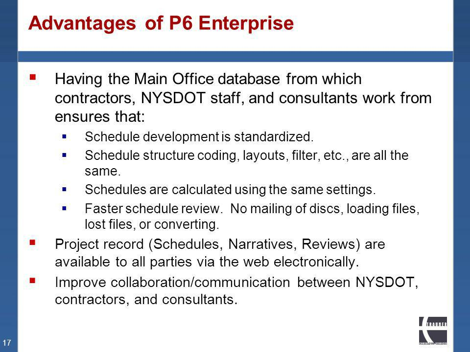 Advantages of P6 Enterprise