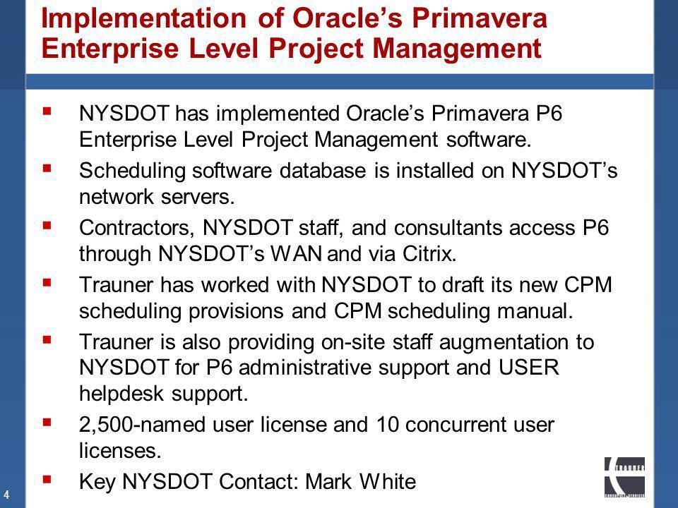 Implementation of Oracle's Primavera Enterprise Level Project Management