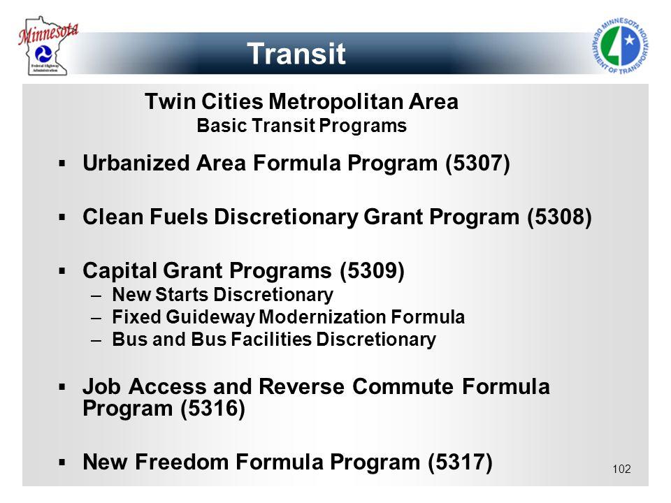 Twin Cities Metropolitan Area Basic Transit Programs