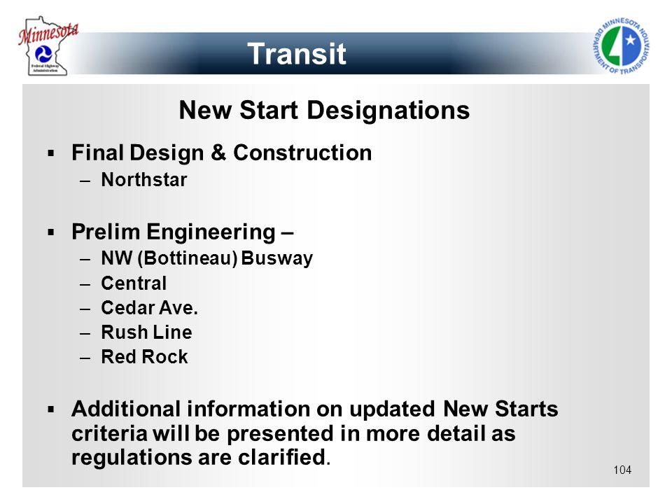New Start Designations