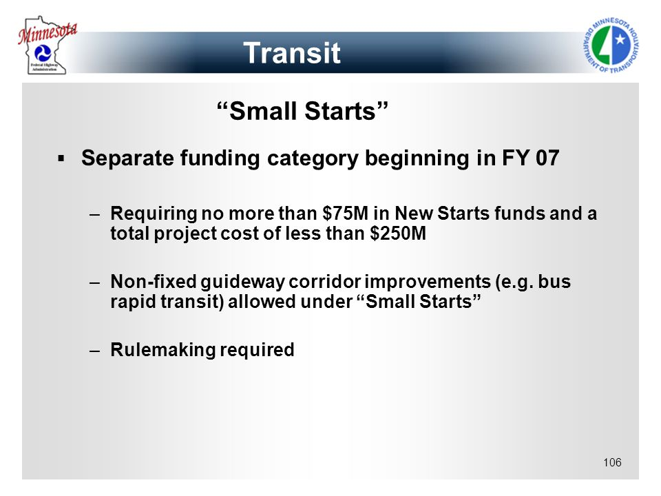 Transit Small Starts Separate funding category beginning in FY 07
