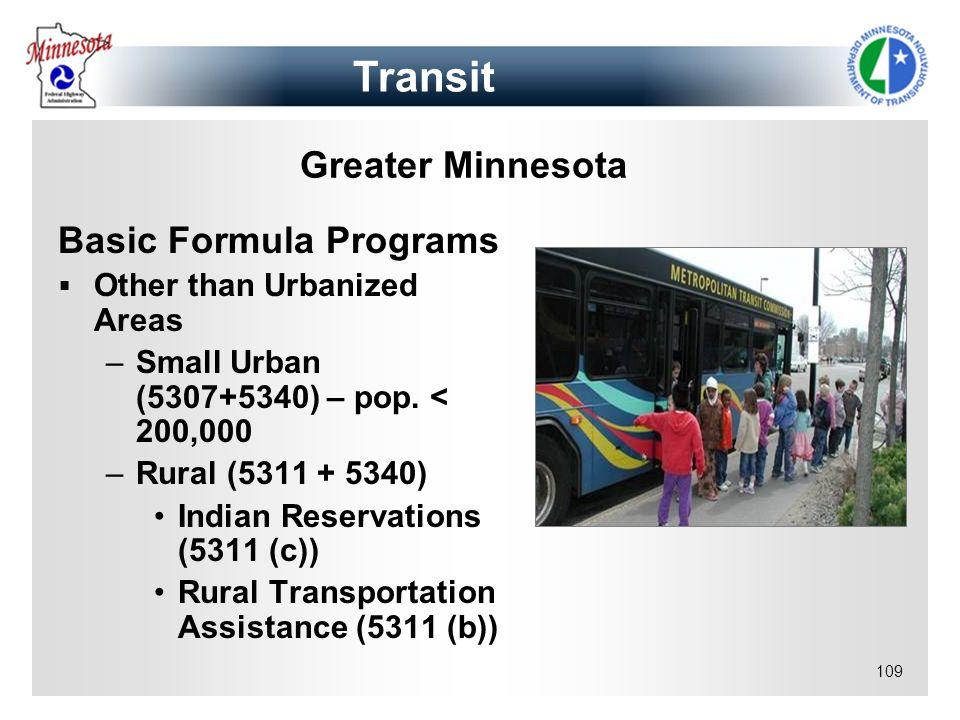 Transit Greater Minnesota Basic Formula Programs