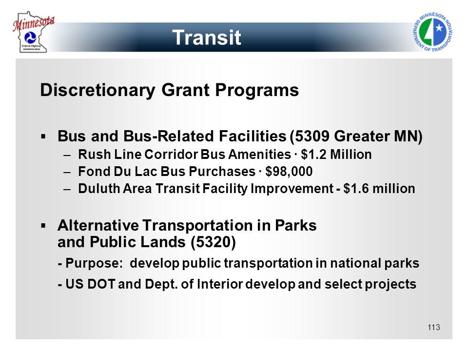 Transit Discretionary Grant Programs