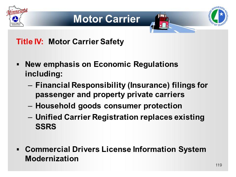 Motor Carrier Title IV: Motor Carrier Safety