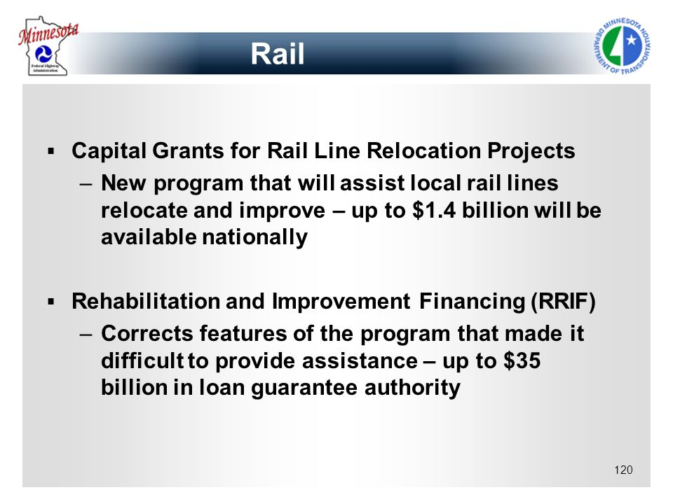 Rail Capital Grants for Rail Line Relocation Projects