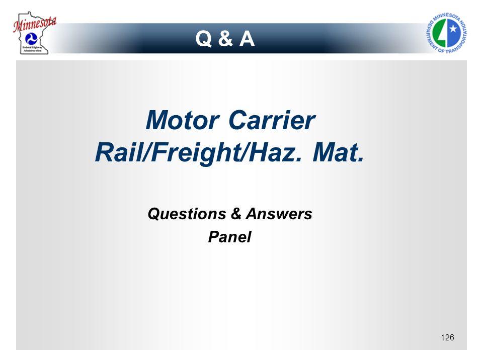 Motor Carrier Rail/Freight/Haz. Mat.
