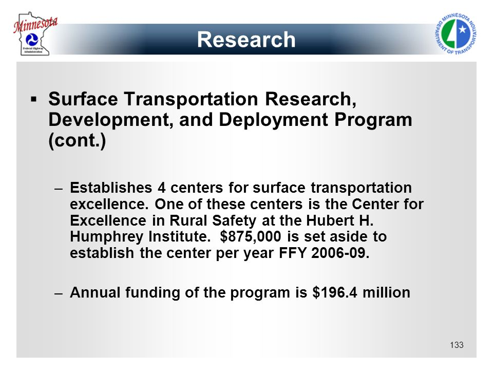 Research Surface Transportation Research, Development, and Deployment Program (cont.)