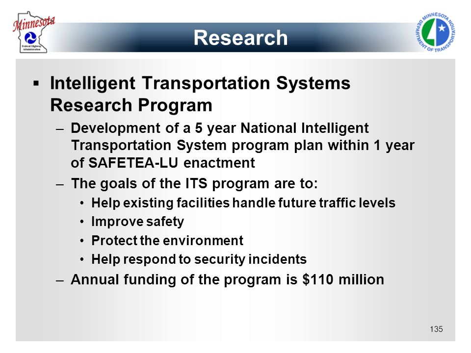 Research Intelligent Transportation Systems Research Program