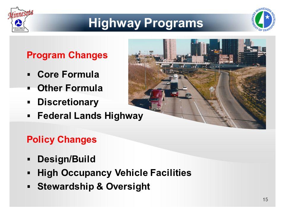 Highway Programs Program Changes Core Formula Other Formula