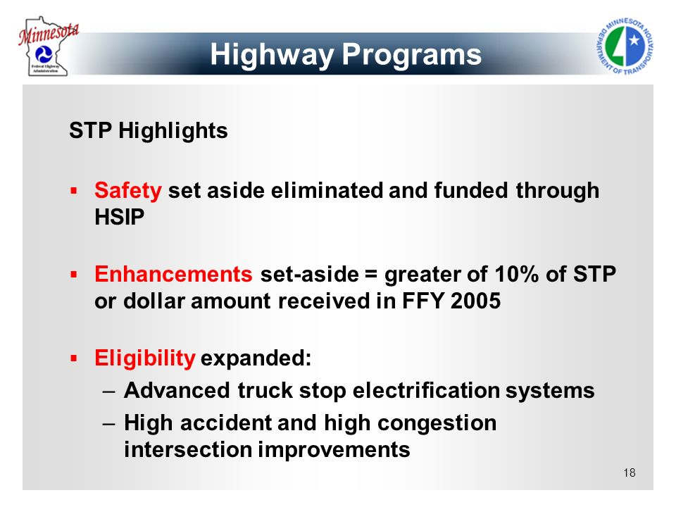 Highway Programs STP Highlights