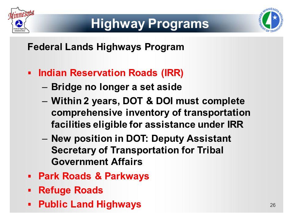 Highway Programs Federal Lands Highways Program