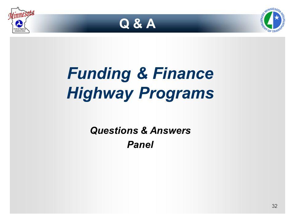 Funding & Finance Highway Programs