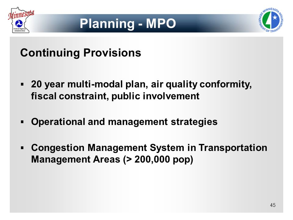 Planning - MPO Continuing Provisions