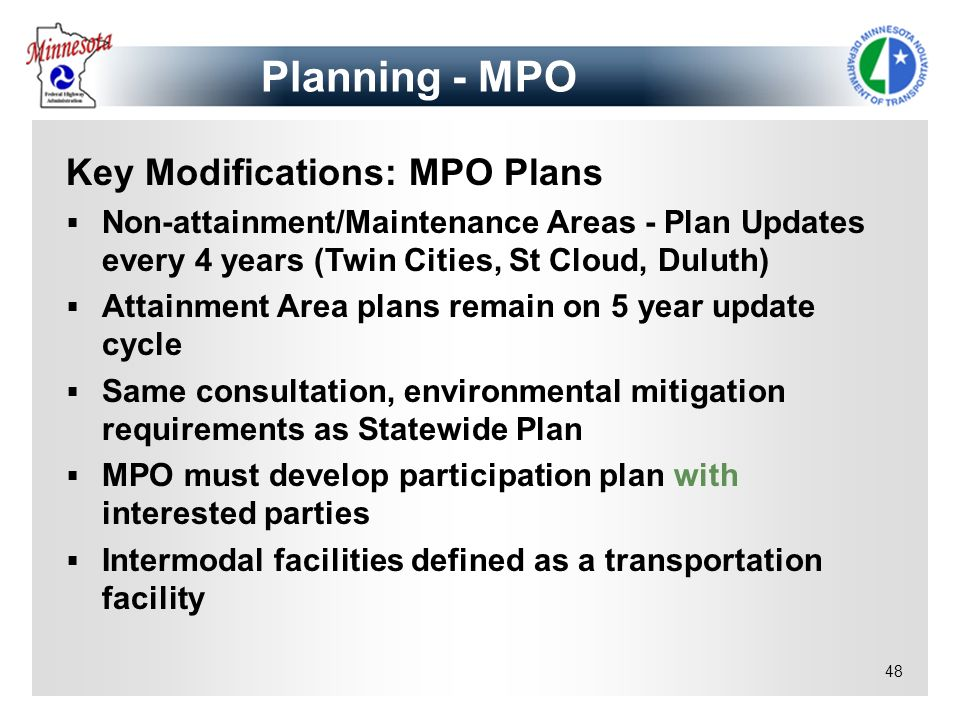 Planning - MPO Key Modifications: MPO Plans